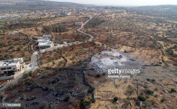 Drone photo shows an aerial view of operation area where Daesh leader Abu Bakr al-Baghdadi killed in, on October 28, 2019 in northwestern Syria in...