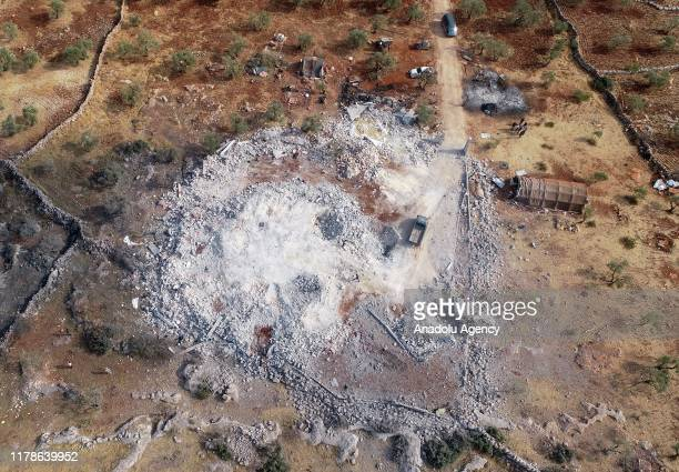 A drone photo shows an aerial view of operation area where Daesh leader Abu Bakr alBaghdadi killed in on October 28 2019 in northwestern Syria in...