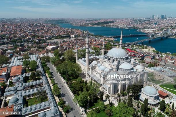 A drone photo shows an aerial view of Suleymaniye Mosque ahead of Muslims' holy fasting month of Ramadan in Istanbul Turkey on April 30 2019 The...