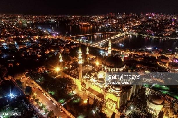 A drone photo shows an aerial view of Suleymaniye Mosque ahead of Muslims' holy fasting month of Ramadan in Istanbul Turkey on May 03 2019 The...