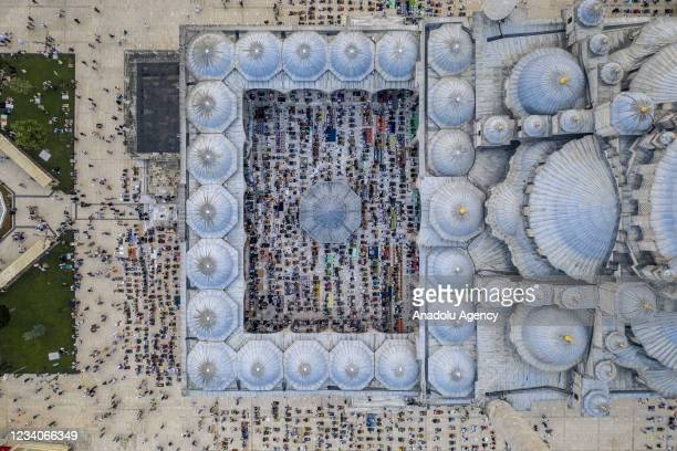 Drone photo shows an aerial view of the Fatih Mosque as Muslims gather to perform Eid al-Adha prayer obeying social distance rules amid COVID-19...