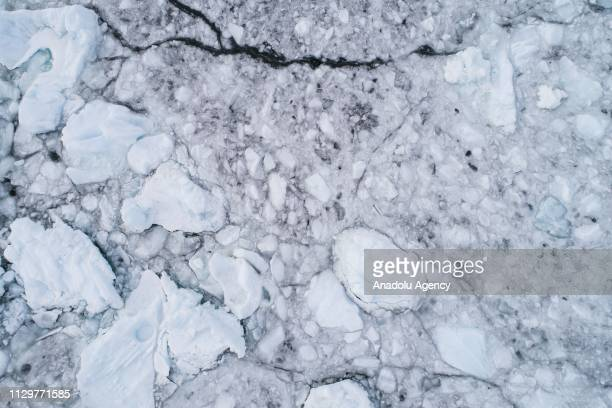 A drone photo shows an aerial view of the pieces of glaciers which are houses for Weddell Seals and other animals at Horseshoe Island in Antarctica...