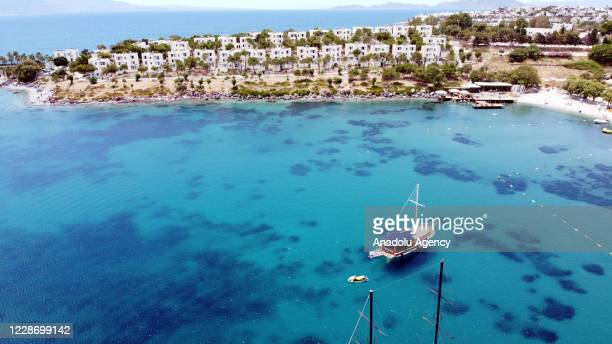 Drone photo shows an aerial view of touristic area in Mugla, Turkey on September 25, 2020. Following the increase of coronavirus cases in Europe,...