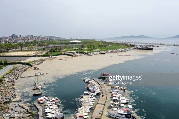 Drone photo shows an aerial view of white layer formed on the sea, caused by the sea snots near Maltepe, Kadikoy and Adalar districts of Istanbul,...