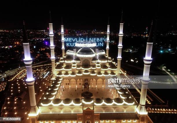 Drone photo shows Camlica Mosque during Mawlid alNabi in Istanbul Turkey on November 08 2019