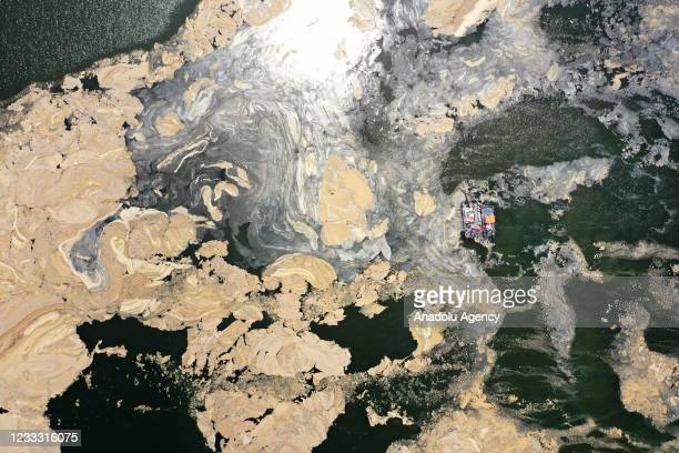 Drone photo shows cleaning process of mucilage, also known as sea snot, covering the surface of parts of the Izmit Bay in Kocaeli, Turkey on June 7,...