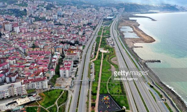 Drone photo shows empty streets and roads after a two-day curfew imposed to stem the spread of the coronavirus in Trabzon, Turkey on April 12, 2020....