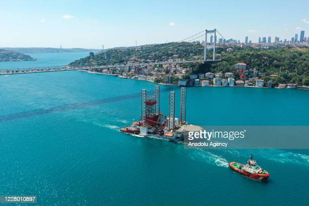 Drone photo shows GSP Saturn, Panama flagged semi-submersible, jackup independent leg cantilever drilling rig, passing through the Bosphorus in...