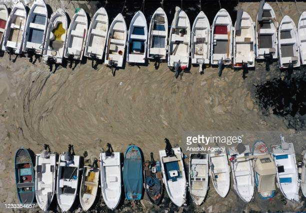 Drone photo shows mucilage also known as sea snot covers the sea surface at the Gulf of Gemlik in Bursa, Turkey on June 09, 2021.