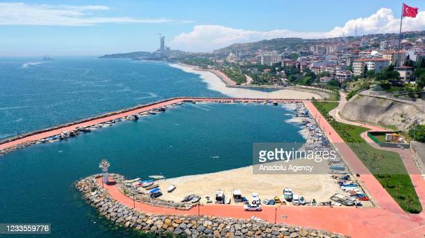 Drone photo shows mucilage, also known colloquially as sea snot, continuing to invade the Marmara Sea, in Darica shores of Turkey's Kocaeli as it was...