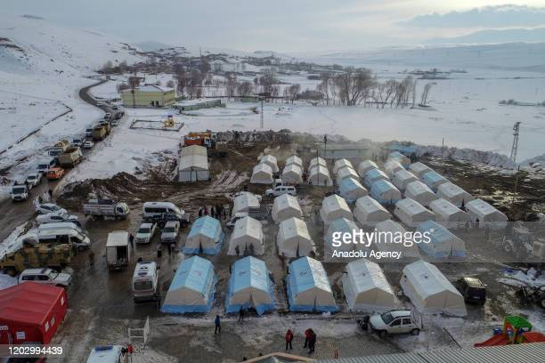 Drone photo shows tents built up by Disaster and Emergency Management Presidency members after a magnitude 5.9 earthquake struck near the border with...