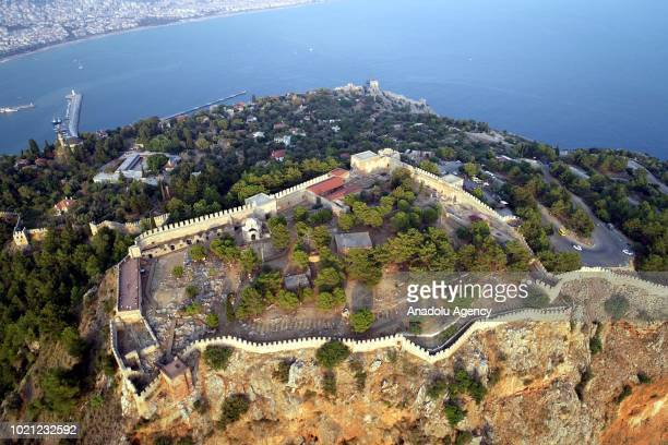 Drone photo shows the Alanya Castle which is in the UNESCO World Heritage Tentative List in Antalya Turkey on August 22 2018
