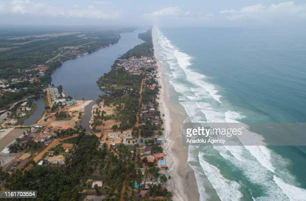 Drone photo shows the coastline in Abidjan, Ivory Coast on August 15, 2019. Ivory Coast, which is the number one cocoa producer in the world, is also...
