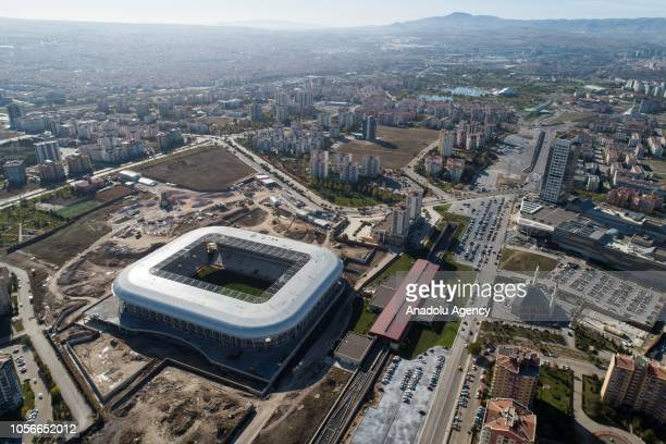A drone photo shows the construction site of the Eryaman Stadium ahead of the Turkish Super Lig soccer match between MKE Ankaragucu vs Besiktas in...