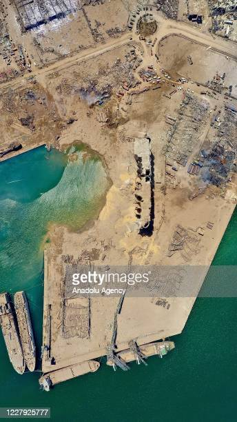 Drone photo shows the damage after a fire at a warehouse with explosives at the Port of Beirut led to massive blasts in Beirut, Lebanon on August 5,...