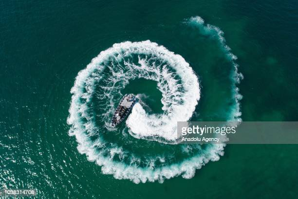 A drone photo shows the military training of trainee noncommissioned officers and members of the 'Underwater Offence' the special operation unit of...
