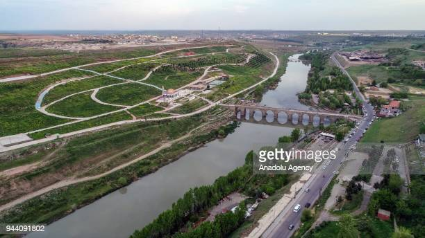 A drone photo shows the On Gozlu Kopru over the Tigris River in Sur district of Diyarbakir province of Turkey on April 10 2018
