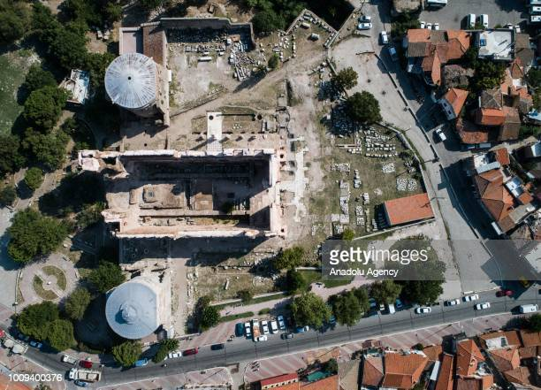 Drone photo shows the ruins of ancient city of Bergama in Izmir, Turkey on August 1, 2018. Acropolis of Pergamon, which is in the UNESCO's World...