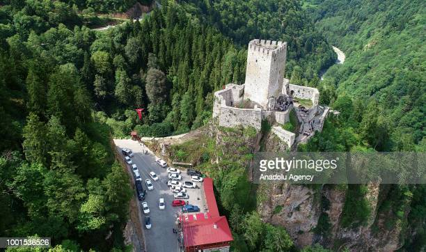 A drone photo shows the Zil Castle located on the Cat Valley in Camlihemsin district of Rize Turkey on July 18 2018 The Zil Castle is located within...