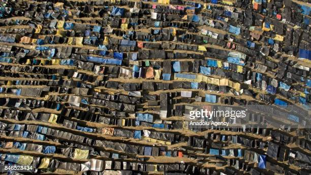 Drone photo shows thousands of tents at gigantic terrain invaded by homeless workers linked to the Homeless Workers Movement in Sao Bernardo do...
