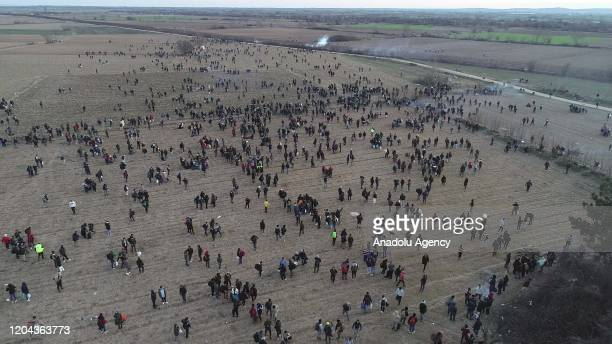 Drone photo taken from Edirne, Turkey shows Greek security forces' intervention in irregular migrants at the border between Turkey and Greece on...