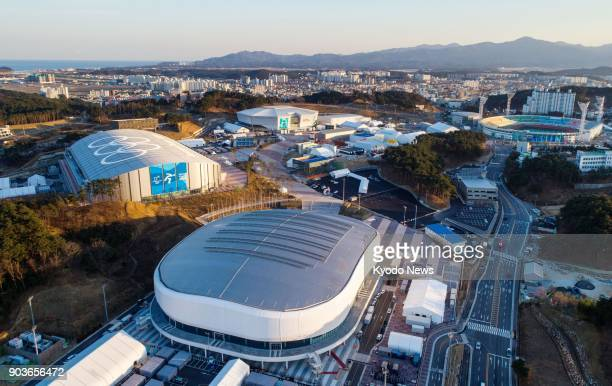 Drone photo taken on Jan 3 shows Olympic Park in Gangneung South Korea containing ice sports venues for the Pyeongchang Olympics including the...
