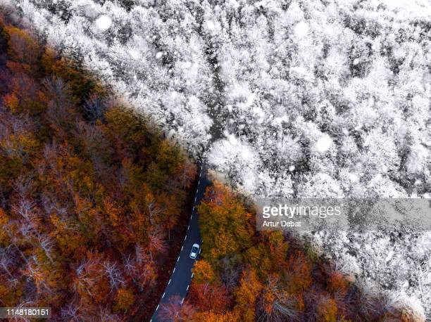 drone picture comparison with autumn and winter season in a beautiful mountain road between forest. - herbst winter kollektion stock-fotos und bilder
