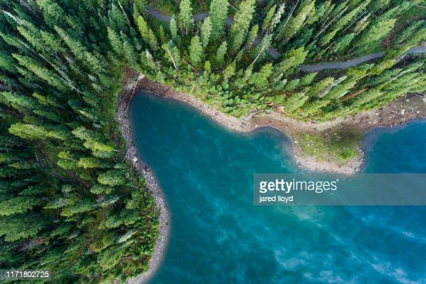 drone point of view looking down on the edge of a mountain lake - rocky mountains north america stock pictures, royalty-free photos & images