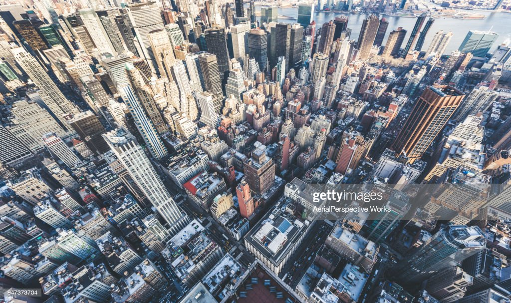 Drone Point of View of Manhattan Skyline : Stock Photo