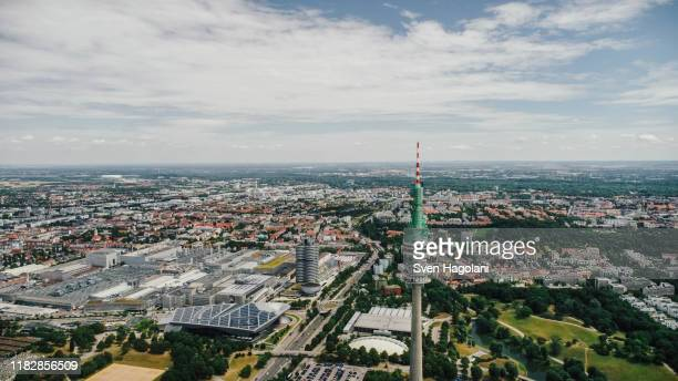 drone point of view sunny munich cityscape, bayern, germany - bayern stock pictures, royalty-free photos & images