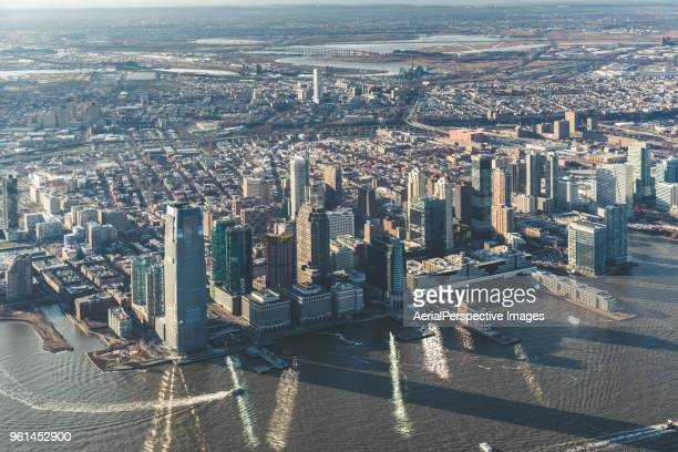 drone point view of jersey city and the hudson river - new jersey stock pictures, royalty-free photos & images