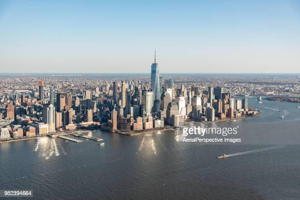 Drone Point View of Manhattan Skyline