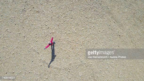 Drone selfie against riverbed