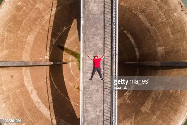 Drone selfie over bridge.