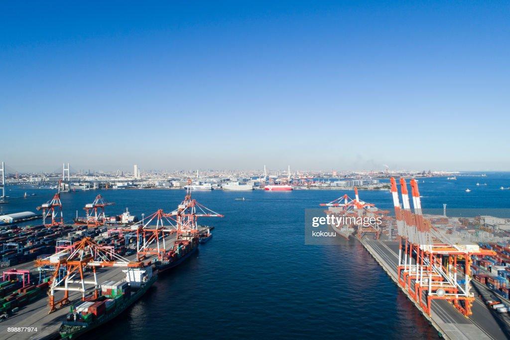 Drone shooting. Harbor, overhead view, sea. Cargo crane. : Stock Photo