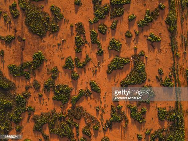 drone shot looking down on outback textures at sunset, northern territory, australia - land stock pictures, royalty-free photos & images
