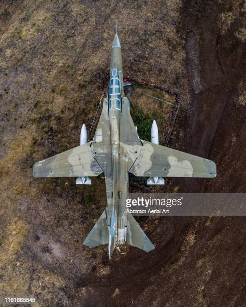 drone shot of an abandoned fighter jet, germany - the hobbit: an unexpected journey stock pictures, royalty-free photos & images