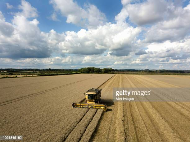 a drone shot of fields in a farming landscape, and a combine harvester working harvesting a crop. - crop stock pictures, royalty-free photos & images