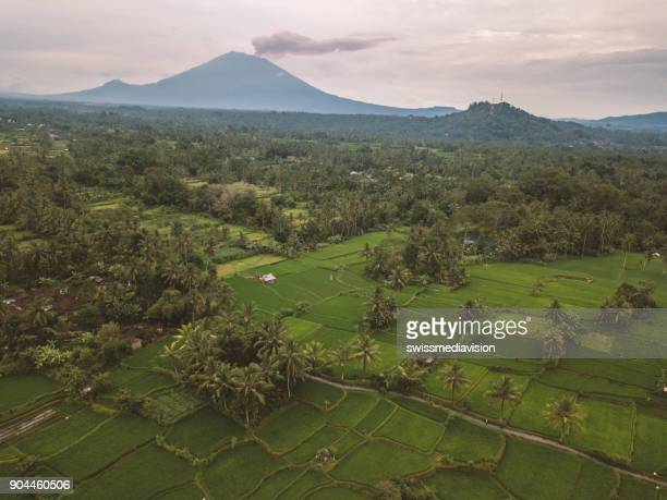 Drone shot of Mount Agung and rice paddies near Ubud, Bali, Indonesia
