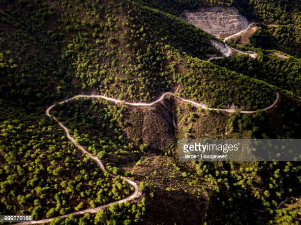 drone shot of the frigiliana mountains - hoogeveen stock pictures, royalty-free photos & images