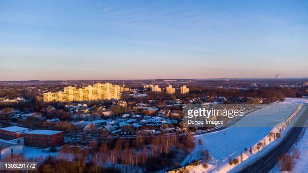 Drone shot over Dorstfeld in the snow on February 14, 2021 in Dortmund, Germany.