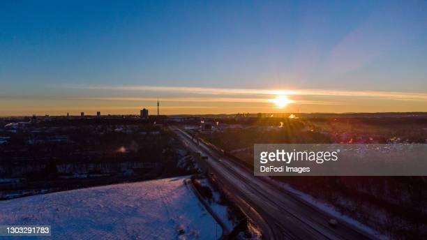 Drone shot over Dortmund Dorstfeld at sunrise with snow on February 14, 2021 in Dortmund, Germany.