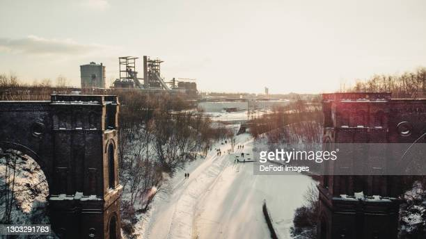 Drone shot over the dump Entenpoth in the Phoenix West quarter in snow on February 11, 2021 in Dortmund, Germany.