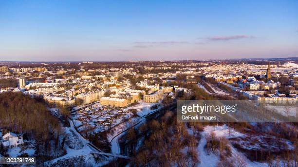 Drone shot over the Phoenix West Quarter in snow on February 11, 2021 in Dortmund, Germany.