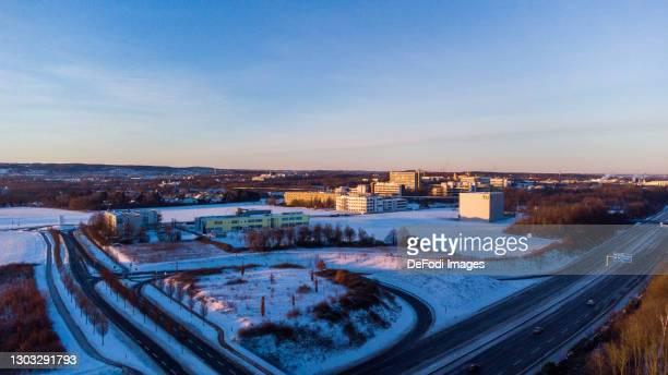 Drone shot over the TU Uni Gelaende in snow in Dorstfeld on February 14, 2021 in Dortmund, Germany.