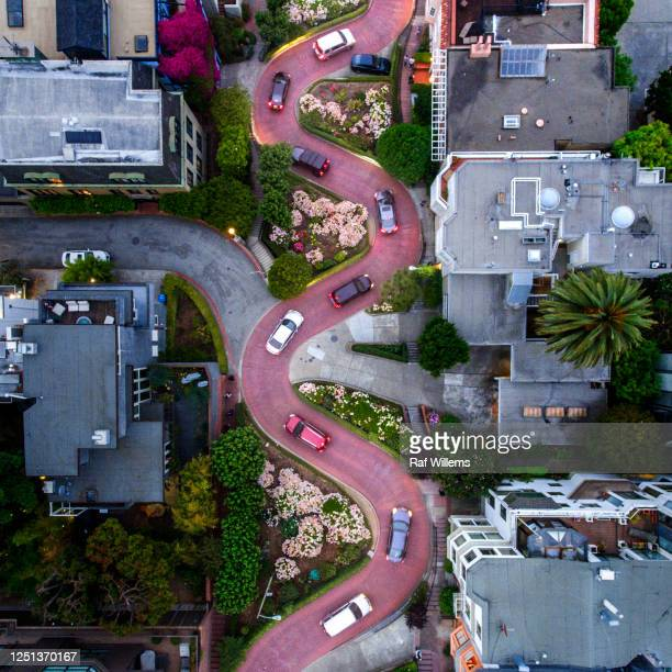 drone shot, straight down, of lombard street, san francisco, california, usa - stock video - lombard street san francisco stock pictures, royalty-free photos & images