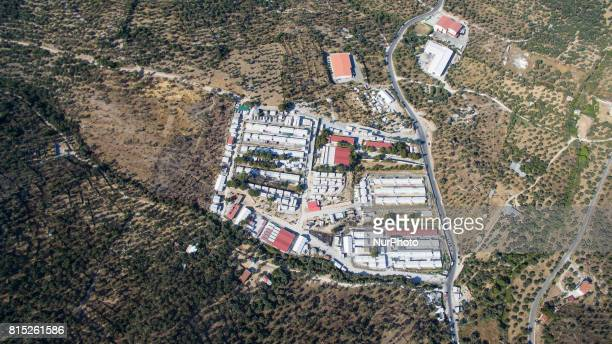 Drone shots over Moria refugee camp Greece on 16 July 2017 one day after fire and clashed Moria refugee camp detentions center and first reception...