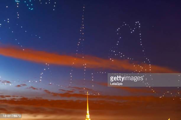 drone show in the center of st. petersburg - performance stock pictures, royalty-free photos & images
