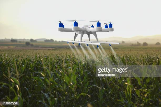 drone spraying a field - drone stock pictures, royalty-free photos & images