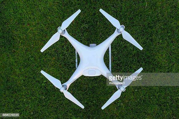 Drone standing on lawn